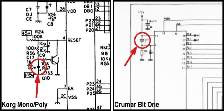 Reset-Kondensator Korg Monopoly & Crumar Bit One